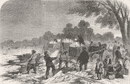 LONDON: Frost: Collecting ice, Serpentine, Hyde Park, antique print, 1857